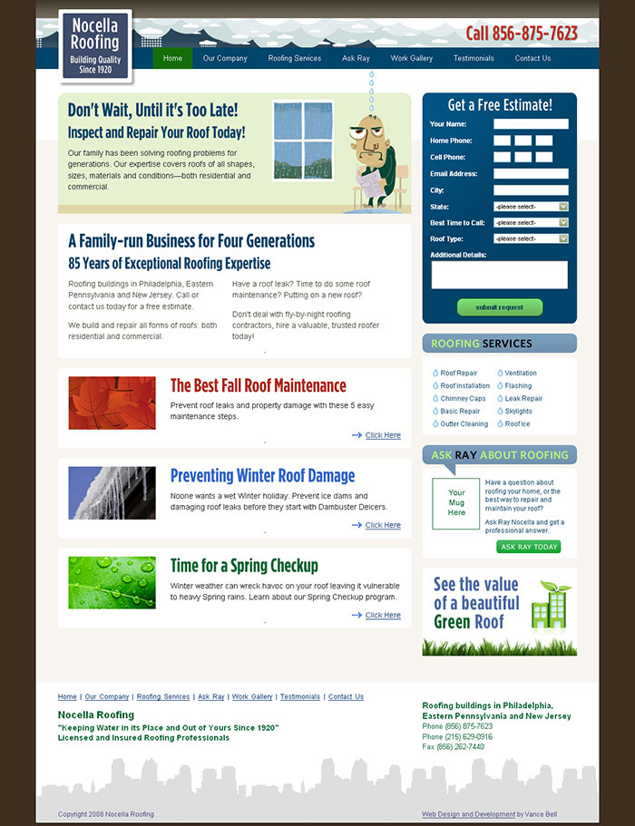 Nocella Roofing Website Launch