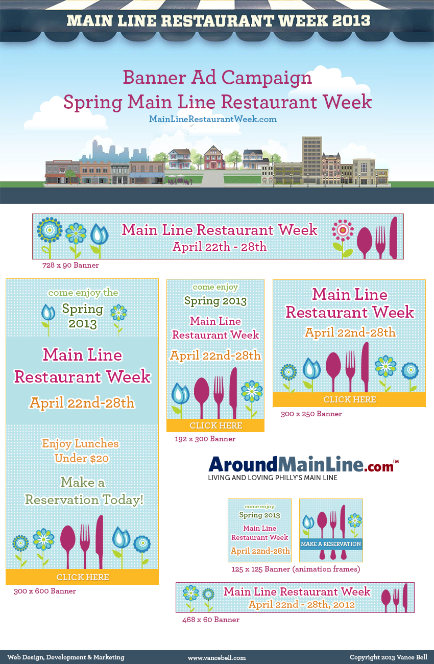 Main Line Restaurant Week Banner Ads