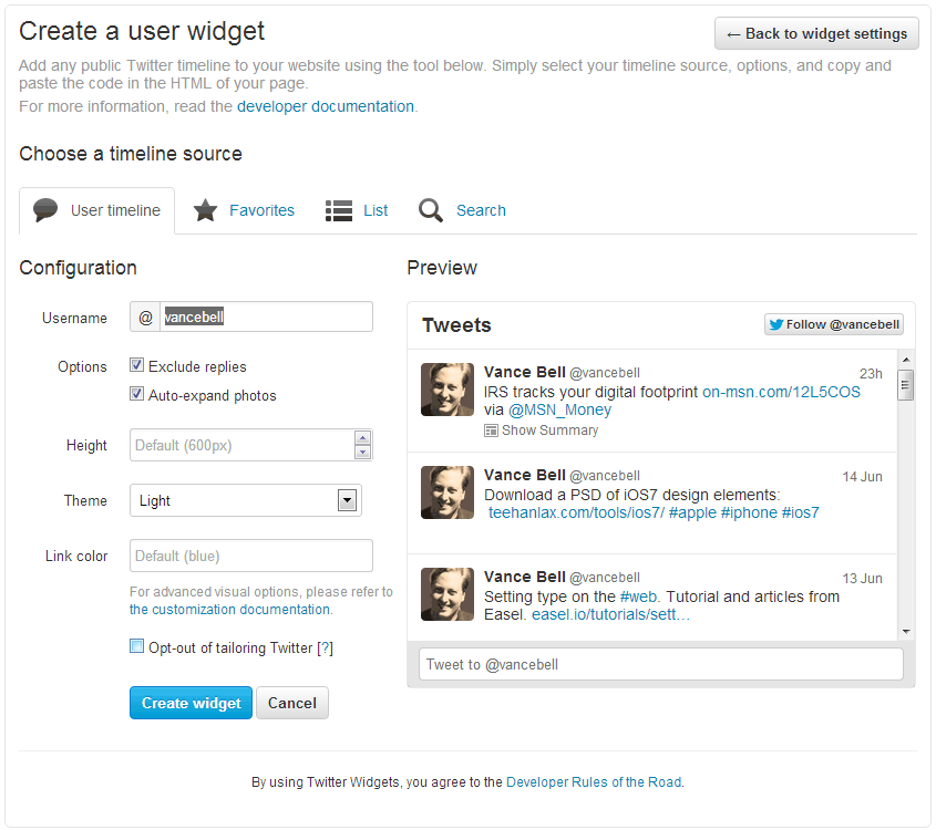 Create a Twitter user widget