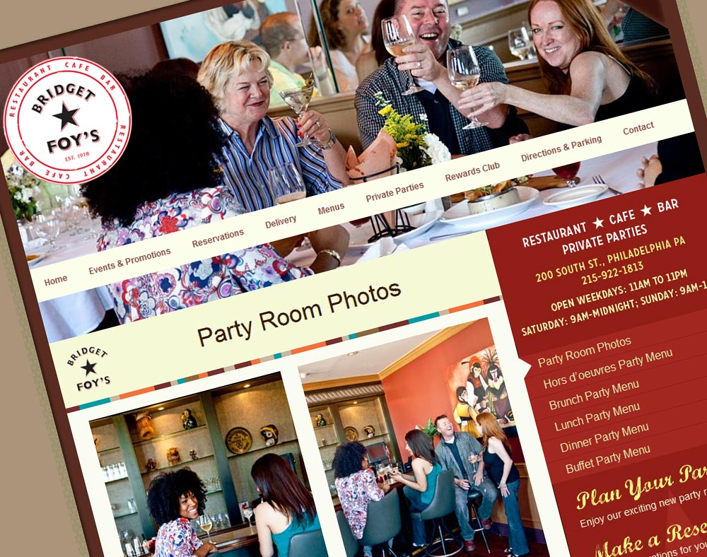 Bridget Foy's - Restaurant Web Design