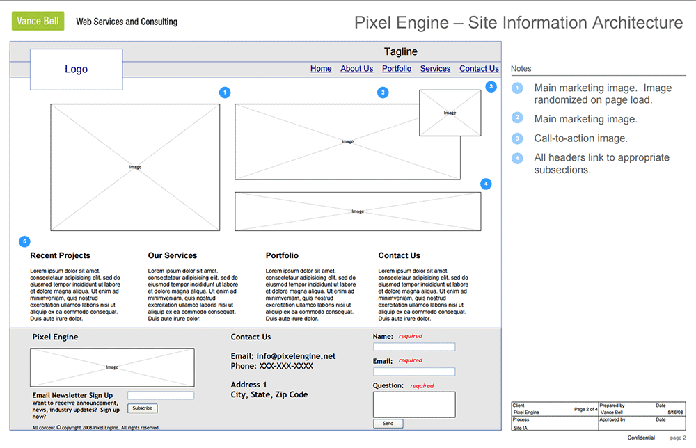 Information Architecture - Wireframe Example