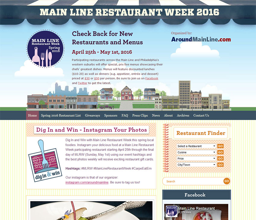 Main Line Restaurant Week WordPress Web Design
