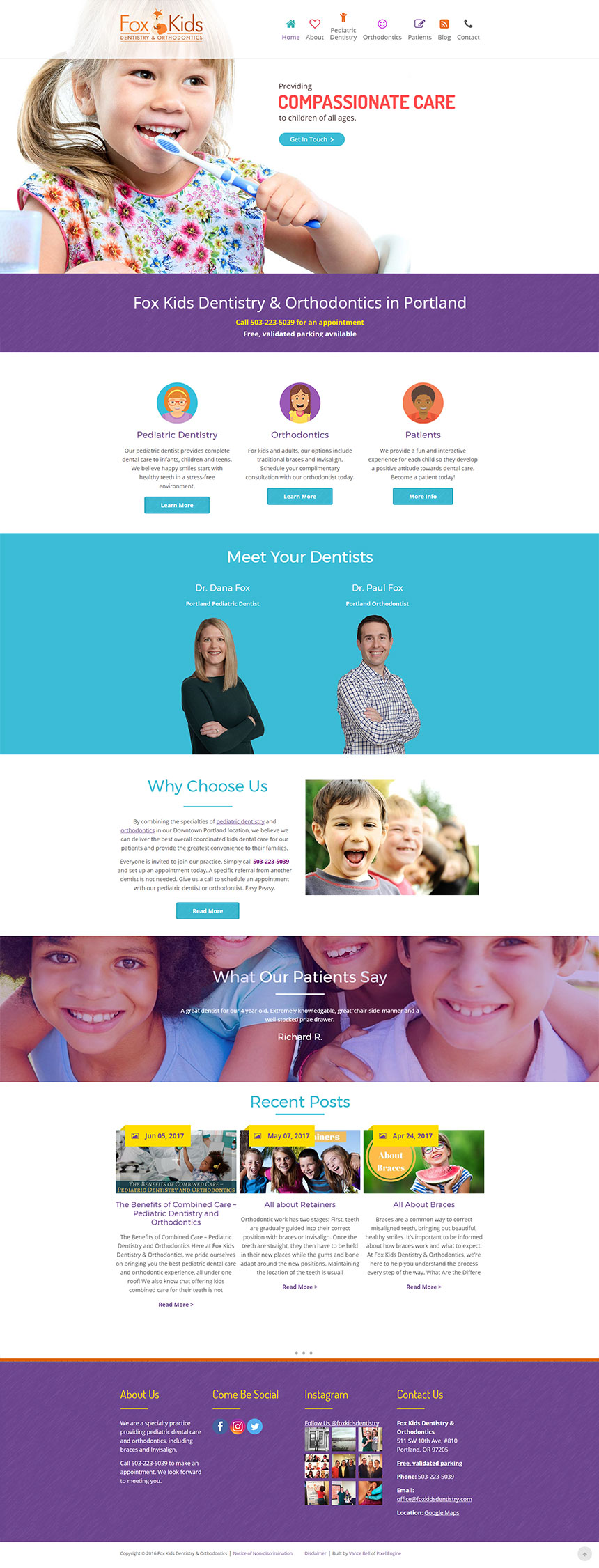 Fox Kids Dentistry WordPress Web Design