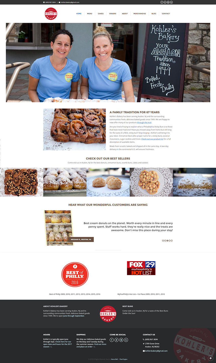 Kohler's Bakery Website Design - Colleen and Katie