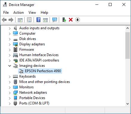Epson 1200 Driver Setup - Device Manager - Epson Perfection 4990