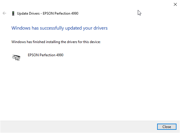 Epson 1200 Driver Setup - Windows Has Successfully Updated Your Drivers