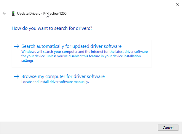 Epson 1200 Driver Setup - Select Driver from Computer